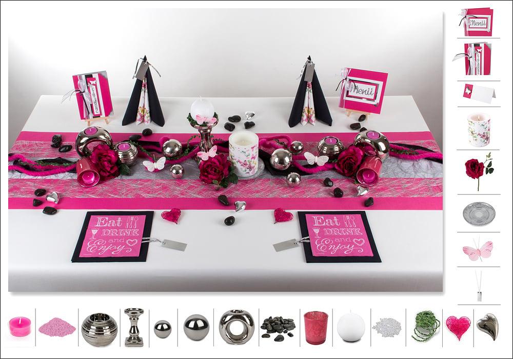 5 mustertisch pink schwarz tischdeko geburtstag tafeldeko for Tischdeko geburtstag 50