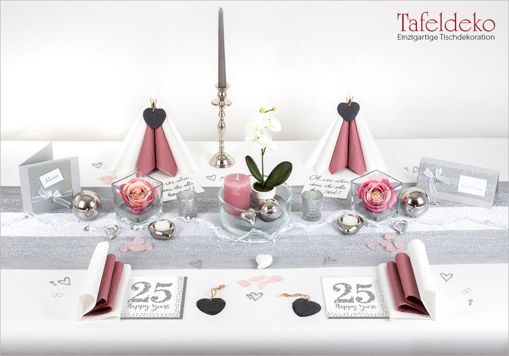 9 Mustertisch Edel In Altrosa Silber Tischdeko Silberne Hochzeit Tafeldeko De