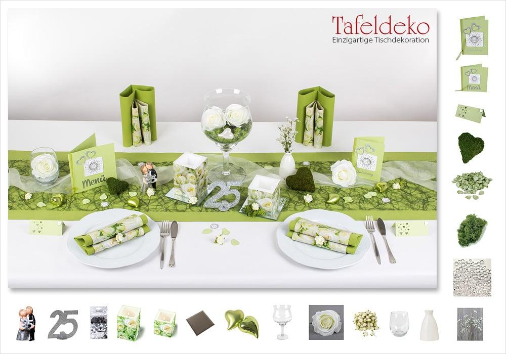 8 mustertisch wei e rosen tischdeko silberne oder goldene hochzeit - Tischdeko goldene hochzeit ...