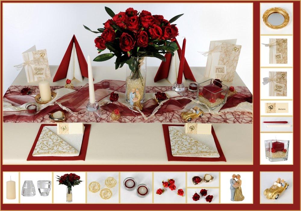 7 Mustertisch Rosenrot Tischdeko Goldene Hochzeit Tafeldeko De
