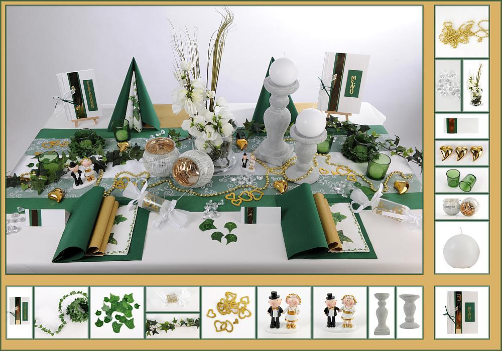 3 Mustertisch Efeu In Grün Gold Tischdeko Goldene