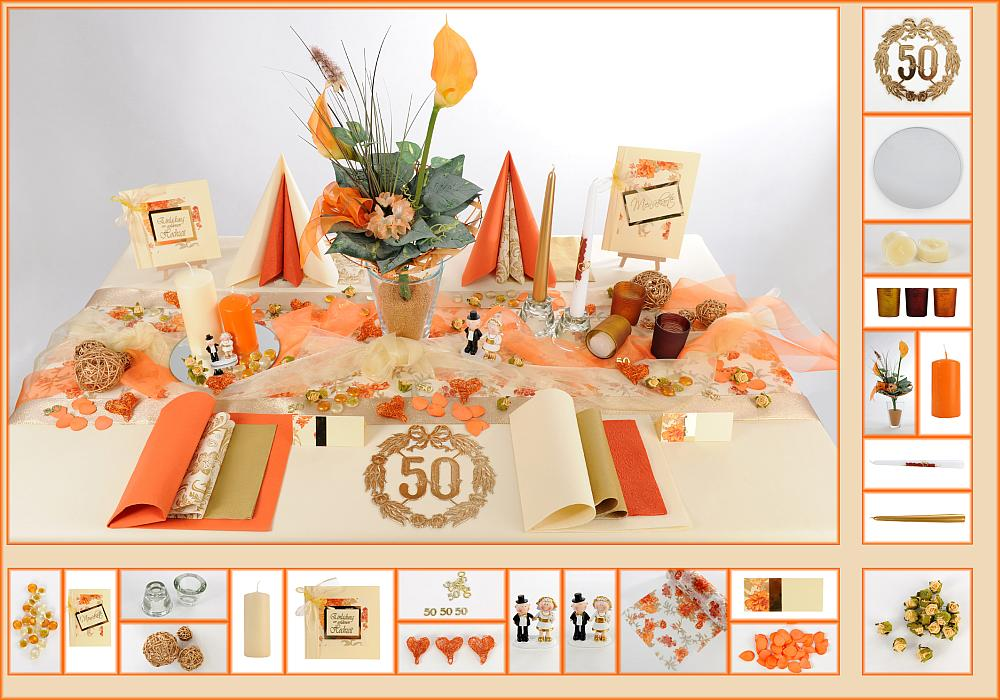 6 mustertisch blumen in orange tischdeko goldene hochzeit. Black Bedroom Furniture Sets. Home Design Ideas