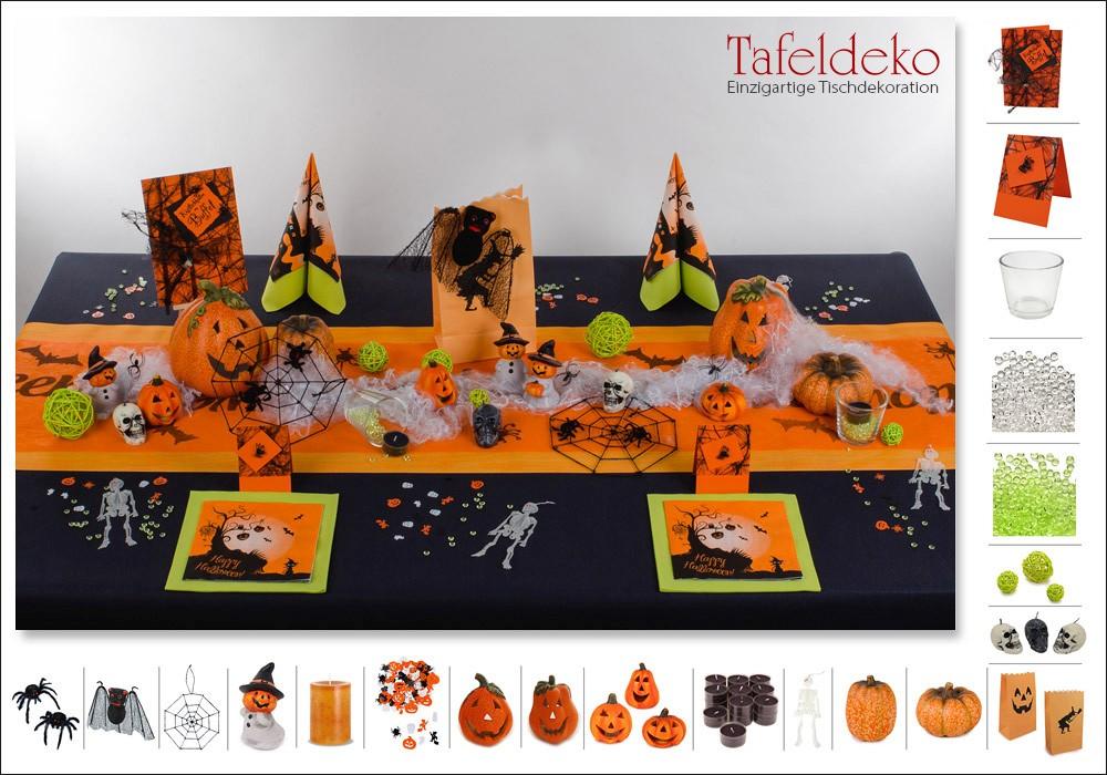 3 Mustertisch Halloween In Schwarz Orange Tischdeko Herbst