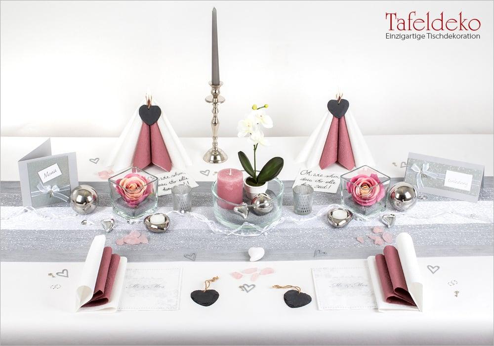 5 Mustertisch In Silber Altrosa Tischdeko Hochzeit Tafeldeko De