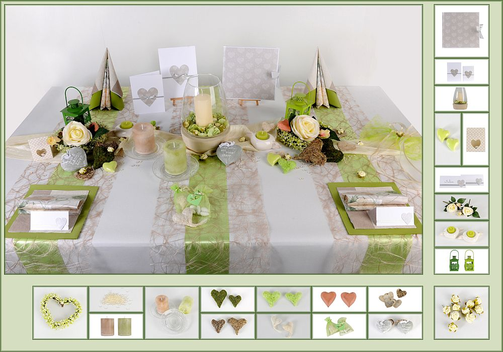5 Mustertisch In Grün Taupe Tischdeko Hochzeit Tafeldekode