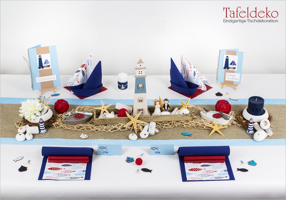 6 Mustertisch Maritim In Blau Rot Tischdeko Kommunion