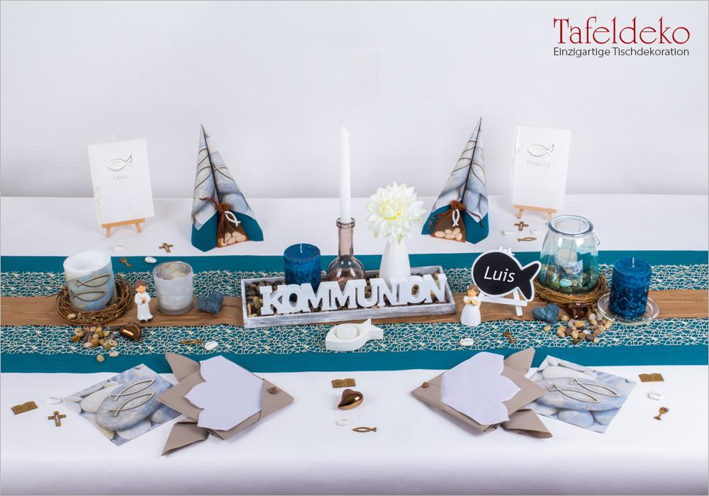 11 Mustertisch Fische Und Steine Tischdeko Kommunion