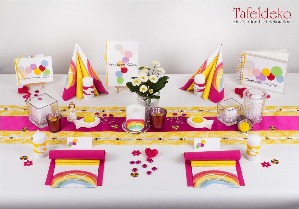 3 Mustertisch Regenbogen In Pink Gelb Tischdeko Kommunion