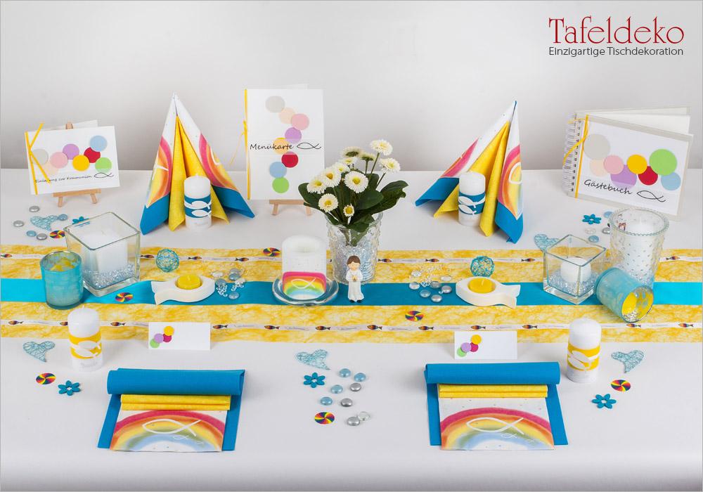 7 mustertisch regenbogen in t rkis gelb tischdeko kommunion konfirmation. Black Bedroom Furniture Sets. Home Design Ideas