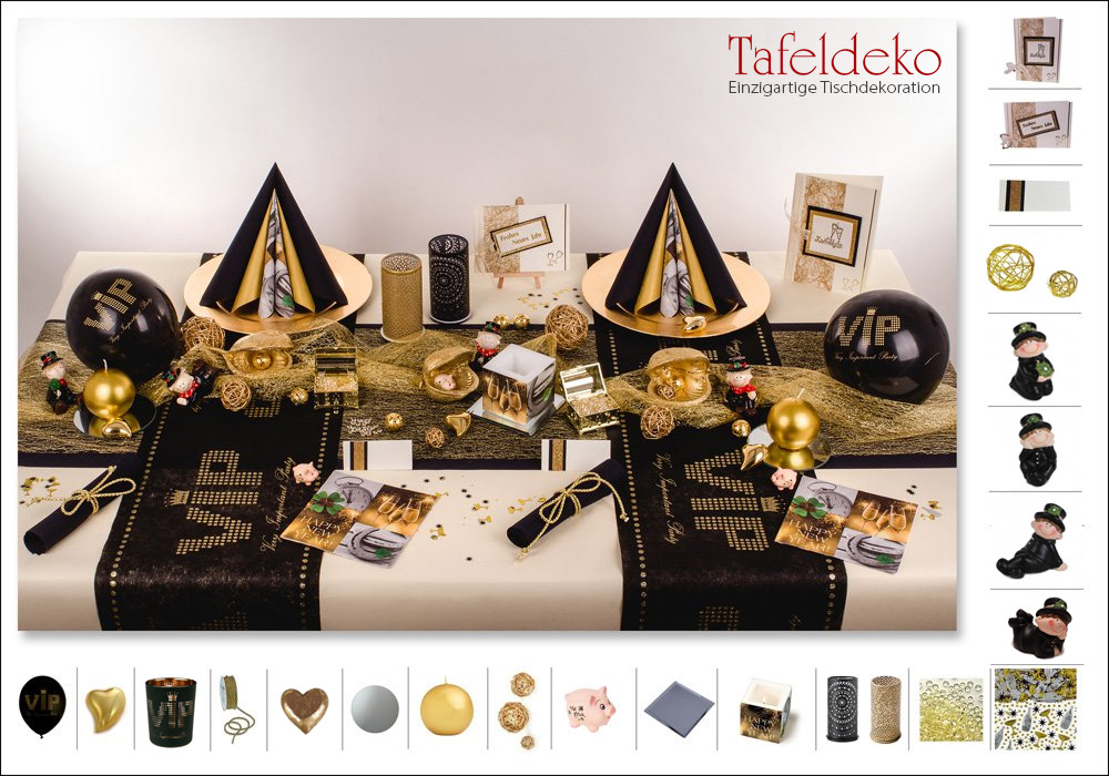 4 mustertisch silvester very important party in schwarz gold. Black Bedroom Furniture Sets. Home Design Ideas