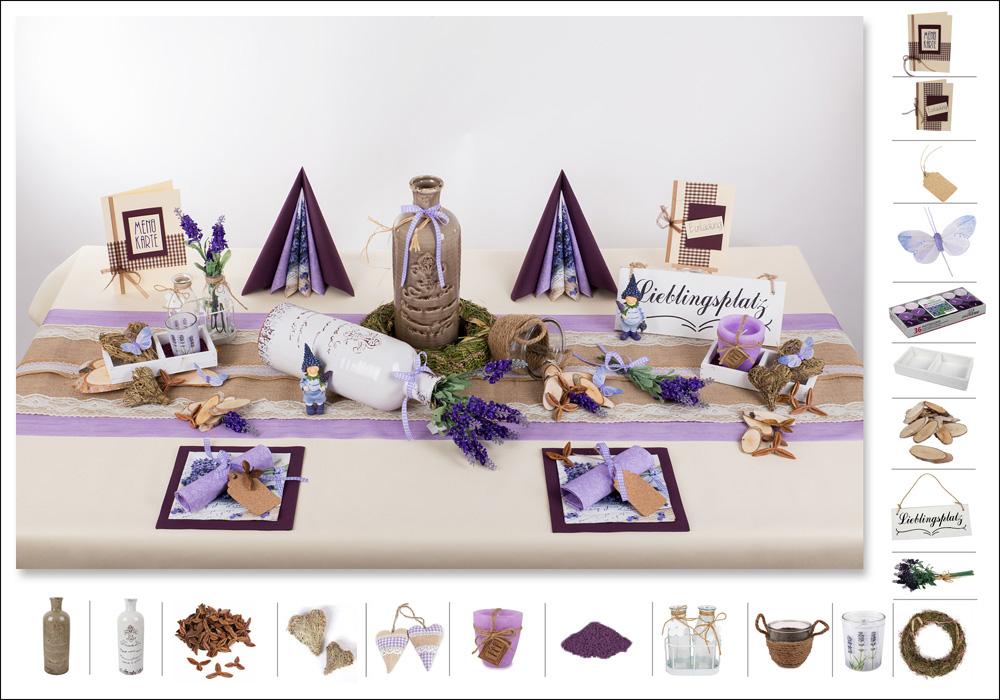 tischdeko sommer 1 in lavendel als mustertisch. Black Bedroom Furniture Sets. Home Design Ideas