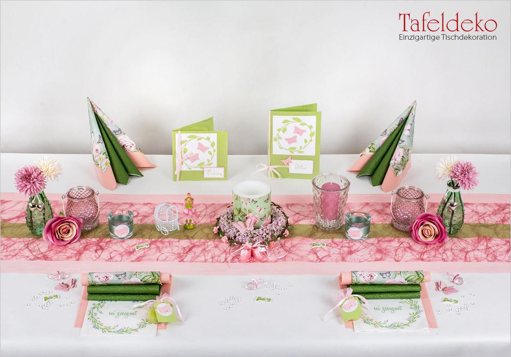 Tischdekoration Deko Geburt Taufe  Mädchen  Schriftzug flieder lila