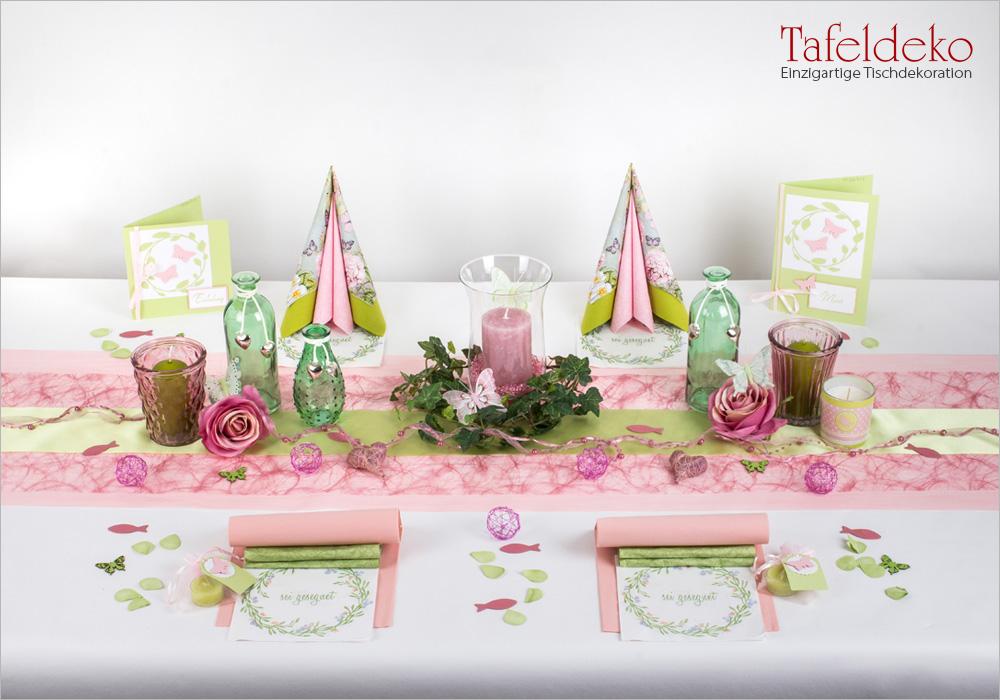 9 Mustertisch Fruhling In Grun Rosa Tischdeko Taufe Tafeldeko De