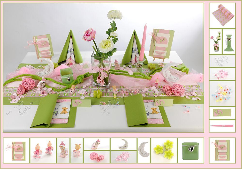 9 mustertisch fr hling in gr n rosa tischdeko taufe for Tischdeko rosa