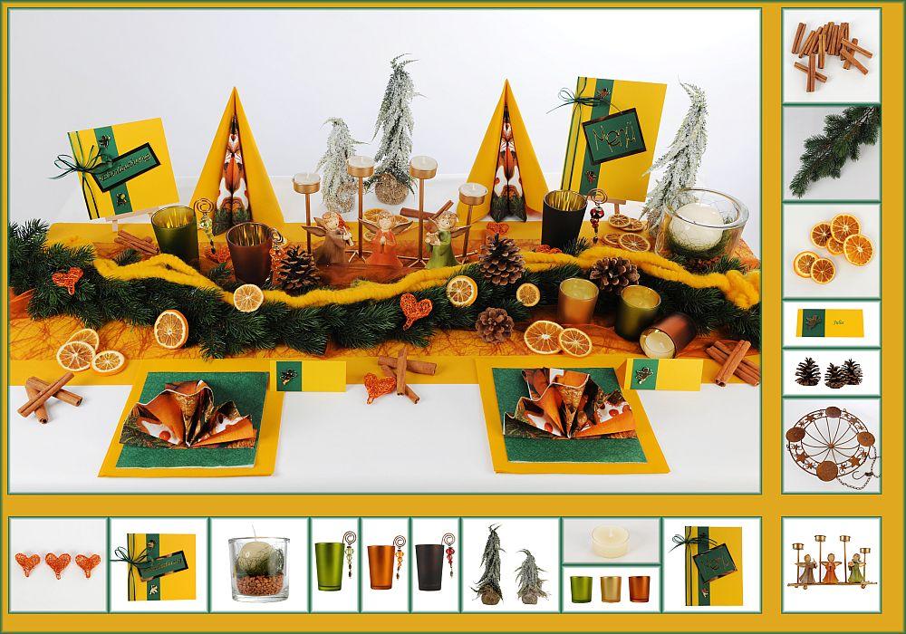 tischdekoration in gelb gr nen farben f r eine festliche. Black Bedroom Furniture Sets. Home Design Ideas