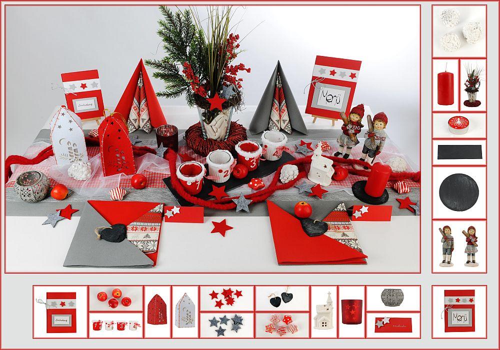 tischdeko weihnachten 4 in rot grau als mustertisch. Black Bedroom Furniture Sets. Home Design Ideas