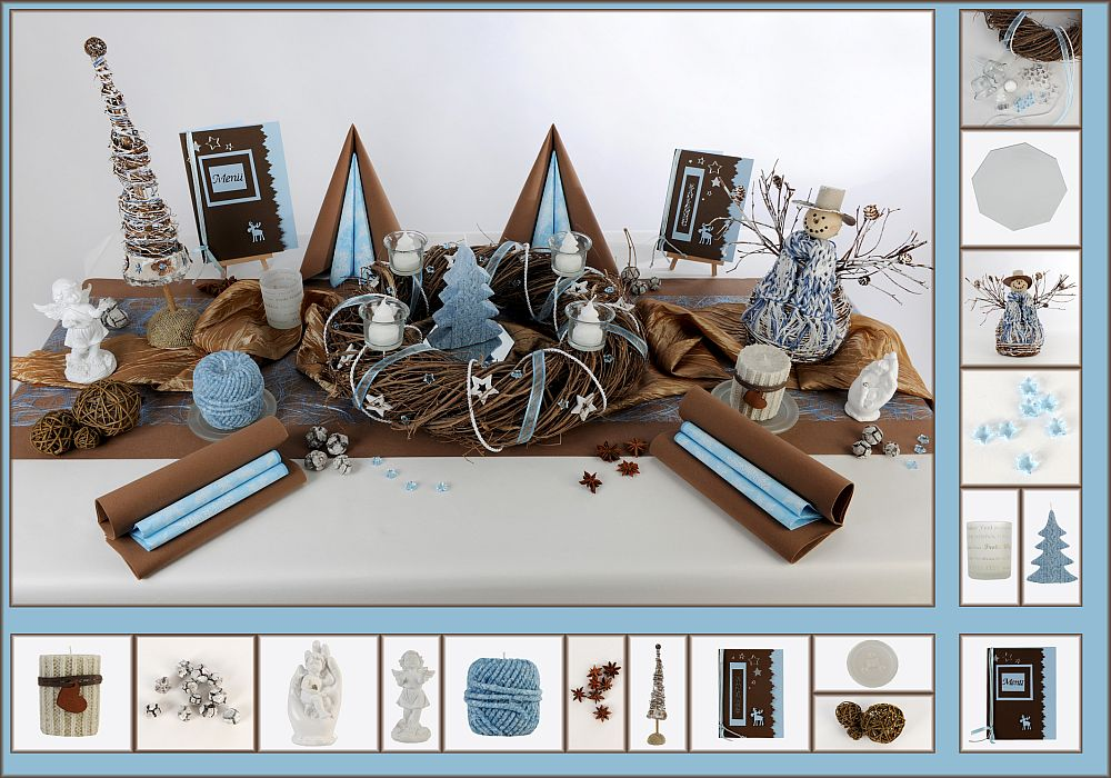 Tischdeko Weihnachten 1 in Blau/Braun als Mustertisch - Tafeldeko.de