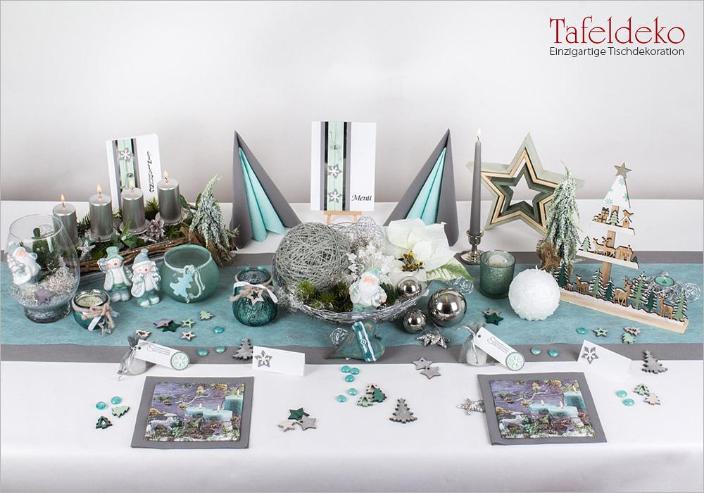 5 Mustertisch Weihnachtslichter In Mint Silber Tischdeko