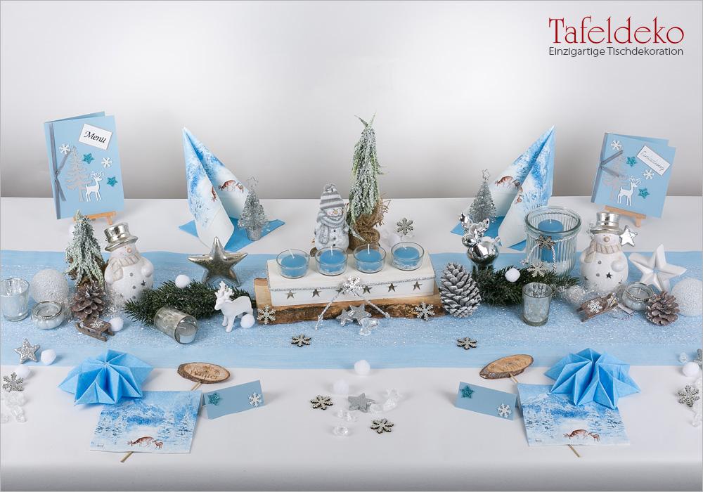 7 mustertisch wintertraum in eisblau tischdeko weihnachten. Black Bedroom Furniture Sets. Home Design Ideas