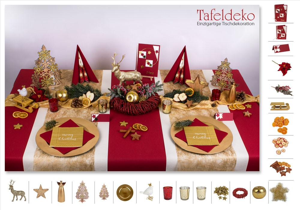 8 mustertisch traditionell in gold bordeaux tischdeko weihnachten. Black Bedroom Furniture Sets. Home Design Ideas