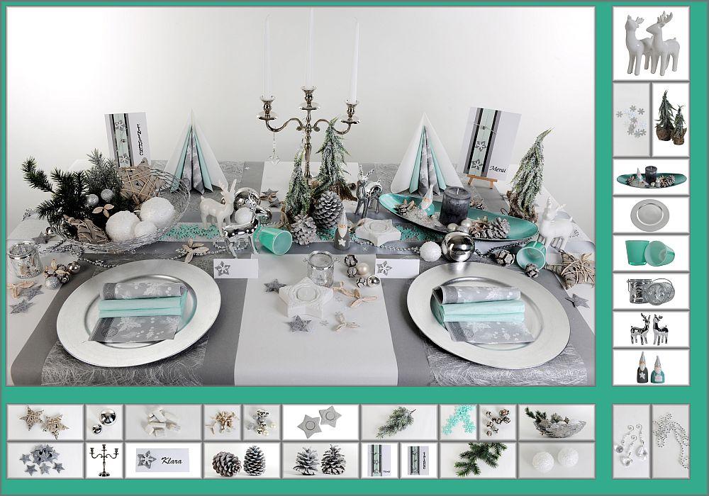 Tischdeko weihnachten silber  Mustertisch Schneeflocken in Silber-Mint - Tischdeko Weihnachten ...