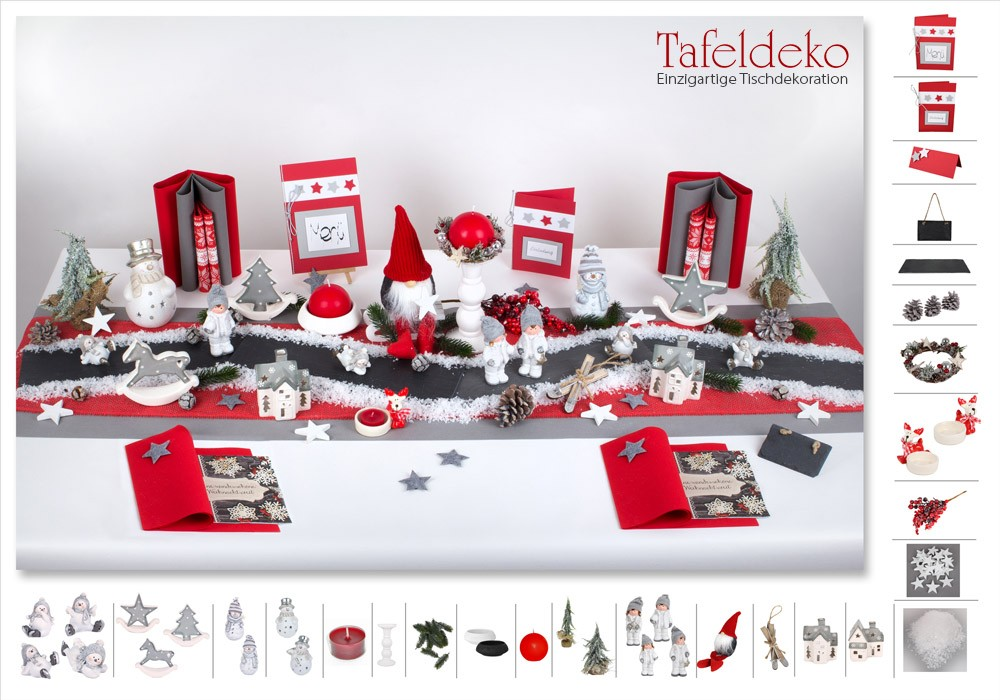 4 mustertisch weihnachtsstra e in rot schiefergrau tischdeko weihnachten. Black Bedroom Furniture Sets. Home Design Ideas