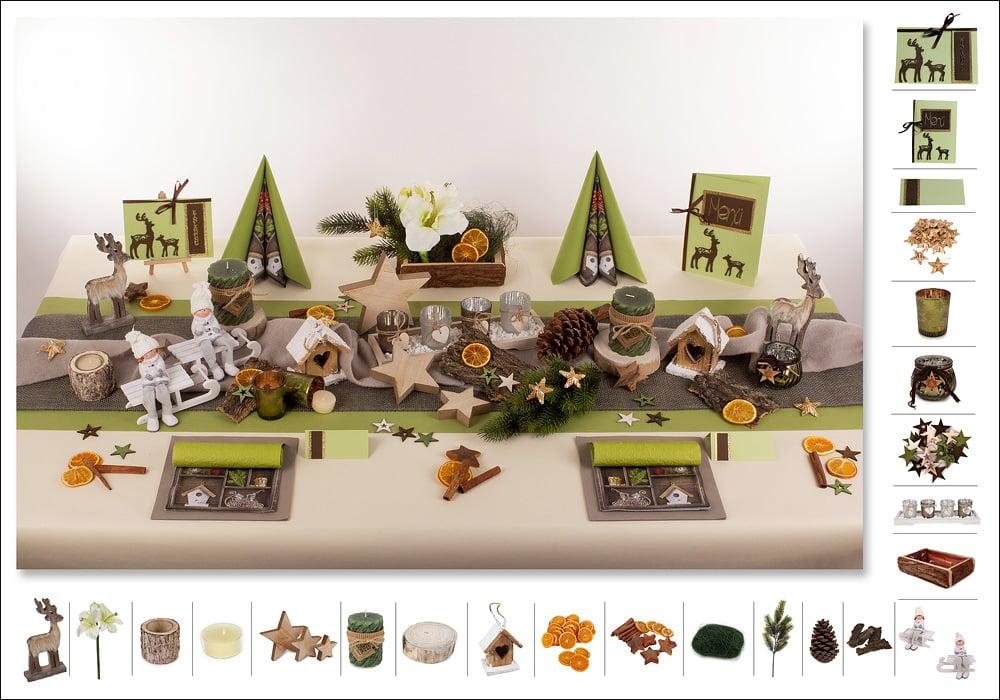 Tischdeko weihnachten grün  Mustertisch Natur in Grün - Tischdeko Weihnachten - Tafeldeko.de