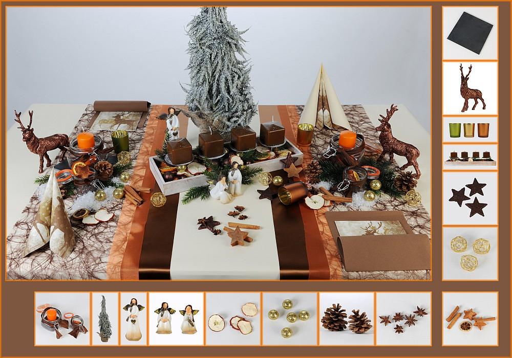 Tischdeko Weihnachten 3 In Braun Als Mustertisch