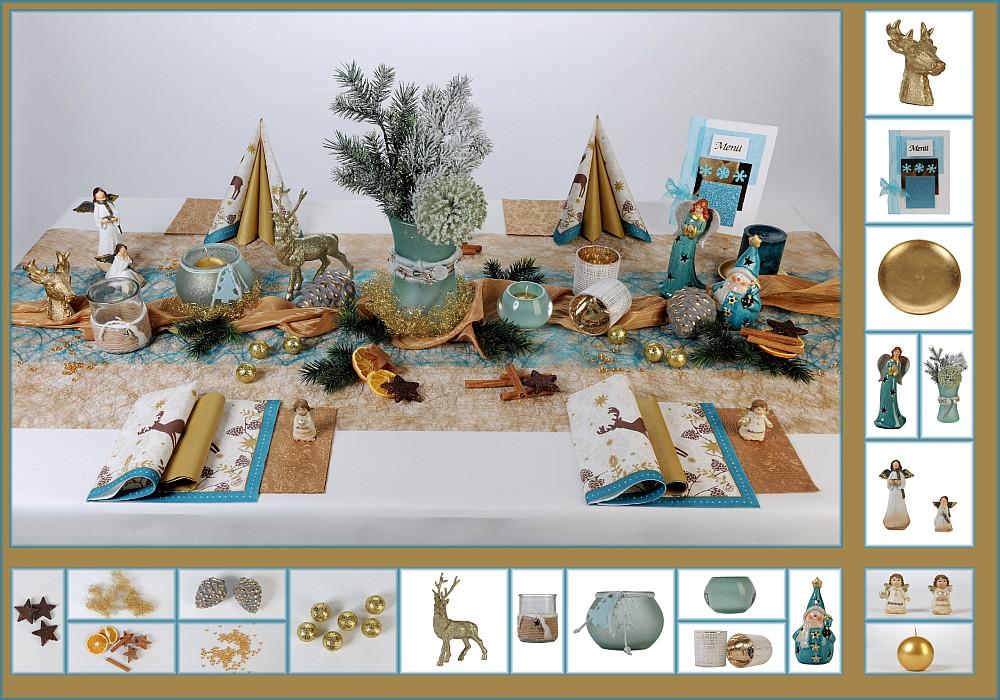 Tischdeko Weihnachten 7 in Braun/Türkis als Mustertisch - Tafeldeko ...