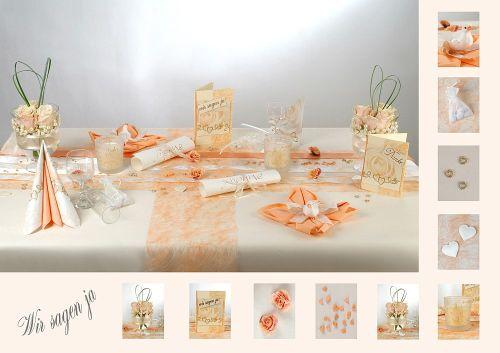 Tischdeko Hochzeit Aprikot