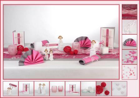 Tischdeko f r die kommunion in pink tafeldeko - Hochzeitsdeko grau rosa ...