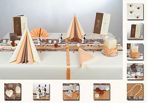 Die Hochzeitstafel in apricot-braun  Tafeldeko
