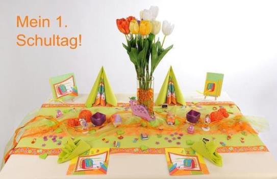 Tischdeko Zur Einschulung In Grun Und Orange Ein Echter Hingucker