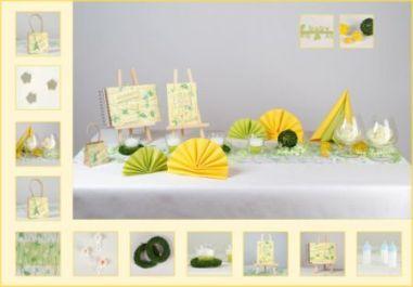 Die Grün Gelbe Tischdekoration Zur Taufe Tafeldeko