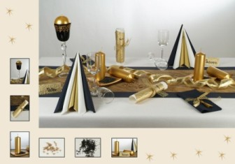 die moderne tischdekoration strahlt in gold schwarz tafeldeko. Black Bedroom Furniture Sets. Home Design Ideas