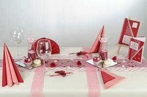 Tischdeko bordeaux-rosa