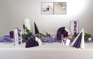 Tischdeko lila-weiß