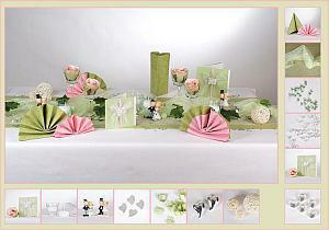 Tischdekoration Hochzeit Avocado-Rosa