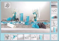 ... – Elegante Tischdekoration in den Trendfarben Türkis und Silber