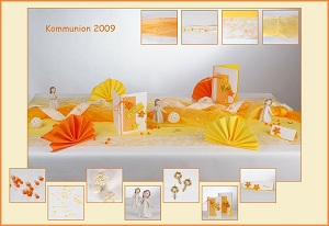 Fruhlingshafte Tischdekoration In Gelb Orange Zur Kommunion Tafeldeko
