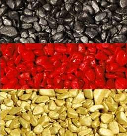 Deko Nuggets schwarz, rot, gelbgold