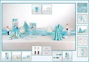 Moderne Tischdekoration In Turkis Mit Vielen Symbolen Zur Kommunion