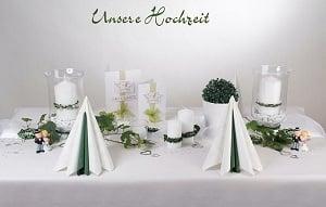 Tischdeko weiß-grün