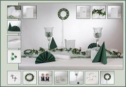 Tischdeko Kommunion weiß-grün