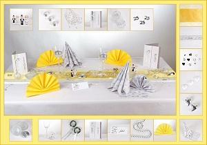 Tischdeko gelb-silber