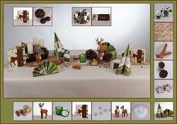 Tischdekoration in Braun & Grün
