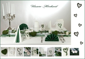 hochzeitstischdekoration mit bambus in wei gr n tafeldeko. Black Bedroom Furniture Sets. Home Design Ideas
