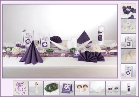 tischdeko in der farbe lila zur kommunion tafeldeko. Black Bedroom Furniture Sets. Home Design Ideas