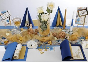 Goldene hochzeit edle tischdekoration in creme und gold for Goldene hochzeit tischdeko