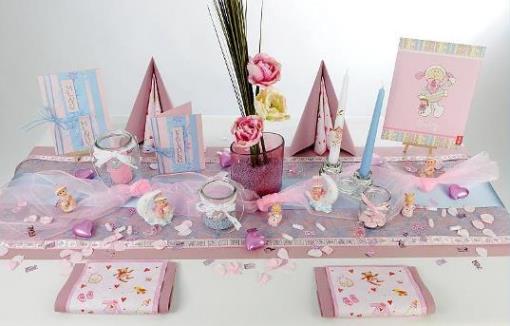 Tischdekoration zur taufe in rosa und hellblau tafeldeko for Tischdeko selbst gestalten